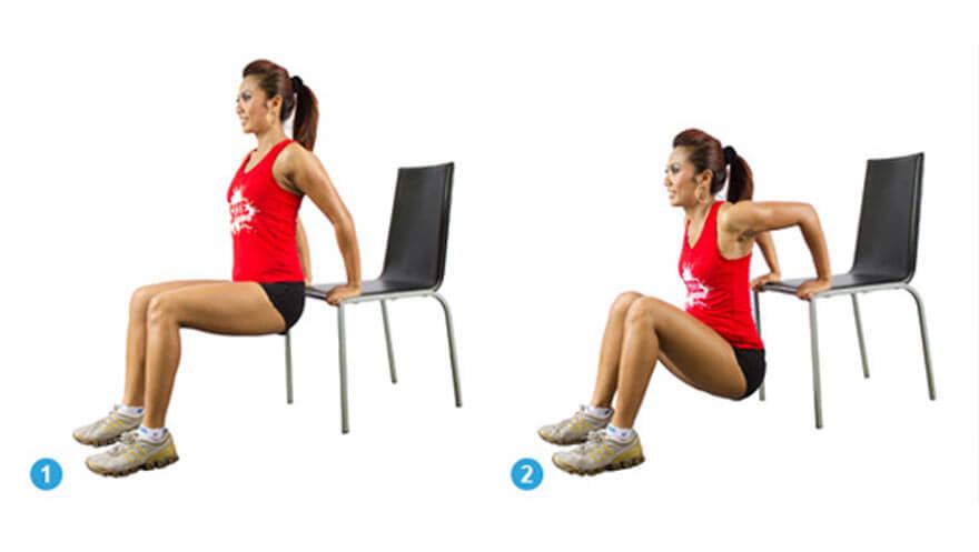 Dips på stol med personlig træner Mikio